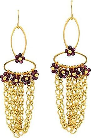 Tinna Jewelry Brinco Dourado Elipse Com Correntes E Flores De Granada