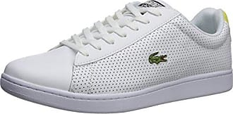 Lacoste Mens Carnaby Evo Sneaker, White/Yellow Perforated, 9 M US