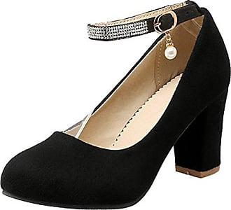 75fe907c5077c6 Aiyoumei Damen Knöchelriemchen High Heels Pumps mit Blockabsatz und Strass  Hochzeits Schuhe 8cm Absatz Bequem