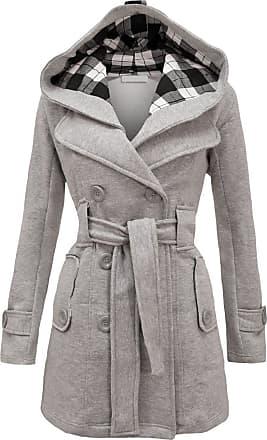 Noroze Womens Long Sleeve Belted Button Fleece Coat Size 8 10 12 14 16 18 20 22 24 26 Grey