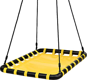 Best Choice Products 40x30in Kids Large Heavy-Duty Mat Platform Tree Spinning Swing w/ Rope, Metal Loops - Yellow
