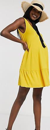 Asos Maternity Esclusiva ASOS DESIGN Maternity - Vestito corto con fondo a balze e tasche nascoste color senape-Giallo