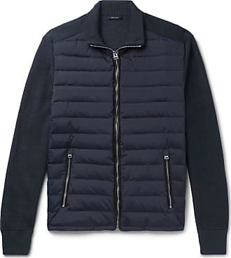 Tom Ford Ribbed Wool And Quilted Shell Down Jacket - Midnight blue