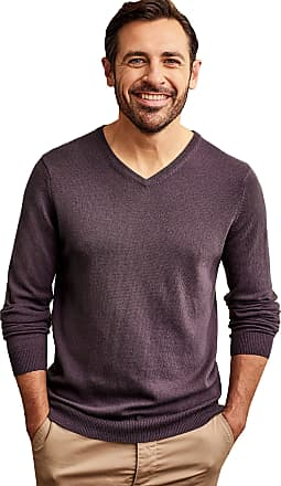 WoolOvers Mens Cashmere and Merino V Neck Jumper Violet Mocha, XL