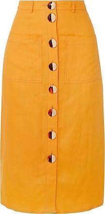 13206a3087c1 Nicholas Button-embellished Linen Midi Skirt - Orange
