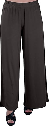 Eyecatch Plus - Kirsten Ladies High Waisted Palazzo Womens Trousers Pants 24/26 Brown