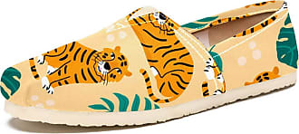 Tizorax Tiger with Tropical Leaves Mens Slip on Loafers Shoes Casual Canvas Flat Boat Shoe
