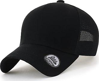 Ililily Blank Front Mesh Back Baseball Cap Casual Strapback XL Trucker Hat, Black