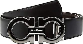 Salvatore Ferragamo Mini-Big with Metallic Enamel - 679494 (Black/Hickory 1) Mens Belts