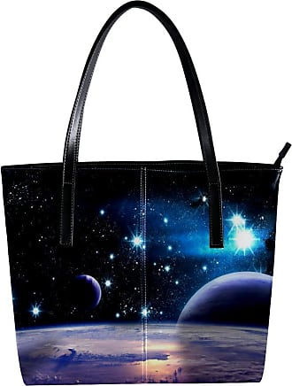 Nananma Womens Bag Shoulder Tote handbag with Planets In The Universe Pattern Zipper Purse PU Leather Top-handle Zip Bags