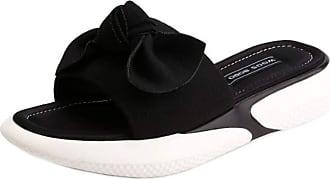 RAZAMAZA Women Fashion Summer Slides Flat Bow Leisure Beach Mule Soft Sole Pool Shoes Slip On Travel Sandals Backless Black Size 39