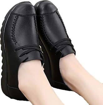 NOADream Women Soft Leather Loafers Moccasins Boat Ballet Flats Casual Comfort Slip On Running Workout Work Driving Mother Shoes for Ladies Black