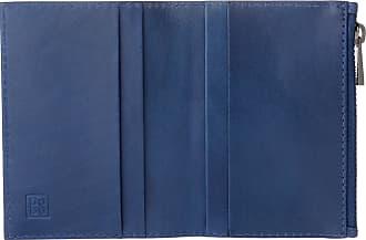 DuDu Portafoglio Porta Carte di credito Uomo in Vera Pelle Portatessere Mini Sottile con Zip Blu
