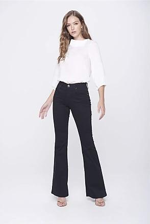 Damyller Calça Boot Cut Preta Jeans Cintura Alta Tam: 48 / Cor: PRETO