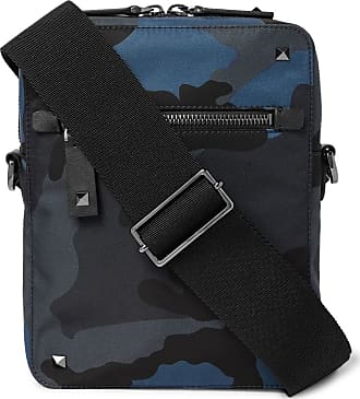 Valentino Valentino Garavani Leather-trimmed Camouflage-print Canvas Messenger Bag - Navy