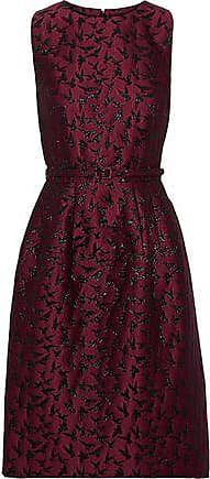 Oscar De La Renta Oscar De La Renta Woman Belted Metallic Jacquard Dress Plum Size 0