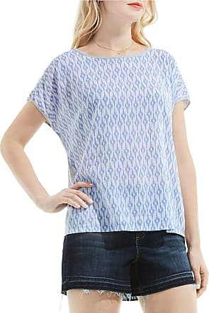 Vince Camuto Womens Blue Sheer Printed Short Sleeve Jewel Neck Top Size: S