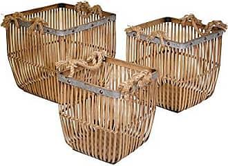 Sagebrook Home 13579-02 Reed/Zinc Basket, 16.25 x 16.25 x 15.75 ES, Brown