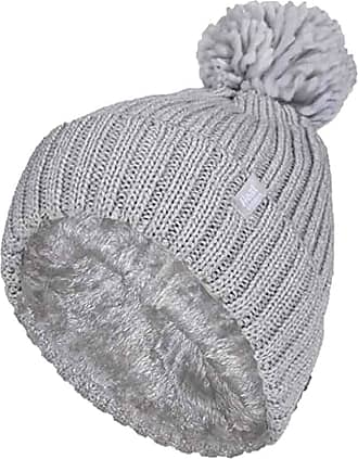 Heat Holders Ladies Thick Chunky Ribbed Cuffed Thermal Insulated Winter Pom Pom Bobble Hat (One Size, Light Grey (Arden))