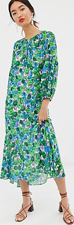 Whistles alva zinnia floral midi dress-Blue
