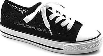 5bdd81fd5c58f9 Angkorly Damen Schuhe Sneaker - Spitze - Glitz Flache Ferse 2 cm - Schwarz  BL130 T