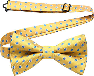 Hisdern Men s Floral Necktie Butterfly Bow Tie Wedding Adjustable Pre-tied Bowtie Yellow & Blue