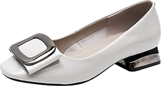 Jamron Womens Fashion Square Toe Chunky Heel Patent Leather Pumps Shoes White SN02613 UK7.5