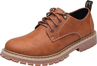 Insun Mens Leather Plain Toe Oxford Shoes Light Brown UK 7.5