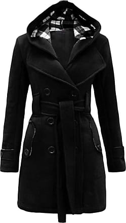 Yonglan Womens Duffle Coat Woolen Blend Trench Casual Hooded Double-Breasted Windbreaker with Blet Black 2XL