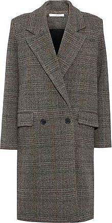Iro Iro Woman Double-breasted Herringbone Wool Coat Gray Size 38
