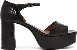 Tabitha Simmons Patton Python-effect Leather Platform Sandals - Womens - Black