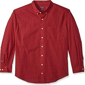 Van Heusen Mens Big and Tall Wrinkle Free Poplin Long Sleeve Shirt Button, Rusty Red, 4X-Large