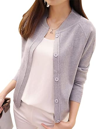 Yonglan Womens Short Fine Knit Cardigan Coat Round Neck Long Sleeve Button Sweater Tops Light Grey S