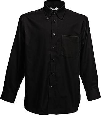 Fruit Of The Loom Oxford Long Sleeve Shirt SS114 (XXL, Black)