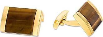 Zales Mens Square Tigers Eye Cuff Links in Stainless Steel with Yellow IP