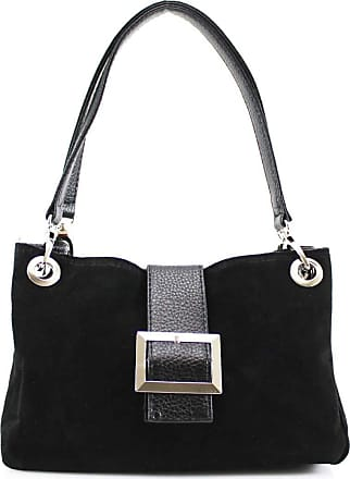 Your Dezire Womens New Womens Italian Suede Twin Strap Leather Buckle Ladies Mini Shoulder Bag Black