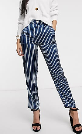 In The Style x Laura Jade satin stripe trouser in blue