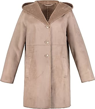 Ulla Popken Womens Plus Size Leather Look Fur Lined Coat Beige Brown 32/34 718535 33-58+