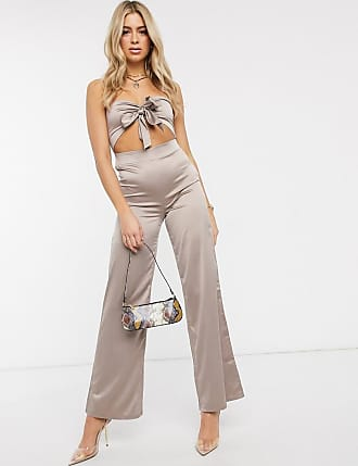 I Saw It First satin tie front jumpsuit-Pink