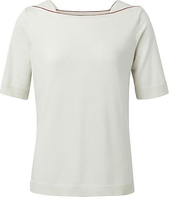 YaYa Weißes Sand-Boot-Ausschnitt-Strick-T-Shirt - Large