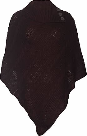 Purple Hanger Womens New Poncho Button Ladies Long Knitted Folded Roll Neck Button Cape Shawl Wrap Shrug Jumper Top Plus Size Dark Brown Size 16-18