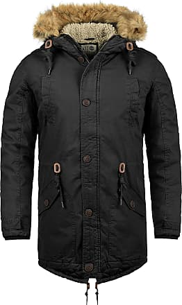 Solid Clarki Teddy Mens Parka Outdoor Jacket Winter Coat with Teddy Fleece and Fur Hood with Hood Made of 100% Cotton with Teddy Fur Lining, Size:XL, Colour