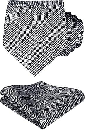 Hisdern Check Wedding Tie Handkerchief Mens Necktie & Pocket Square Set (Black & White)