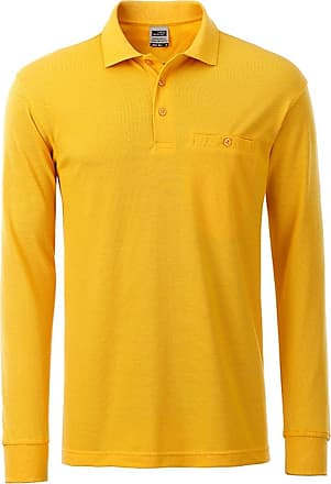2Store24 Mens Workwear Polo Pocket Longsleeve in Gold-Yellow Size: 6XL