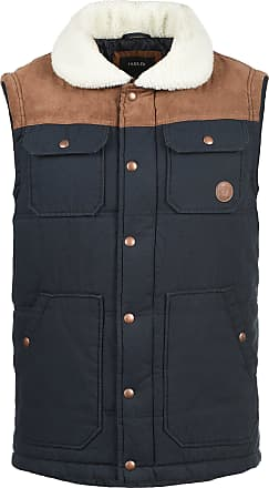 Solid Ferdi Mens Quilted Gilet Vest Body Warmer with Teddy Fur Collar, Size:XXL, Colour:Insignia Blue (1991)