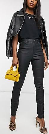 Warehouse waxed coated skinny jeans in black