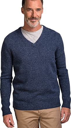 WoolOvers Mens Lambswool V-Neck Jumper Denim Marl, S