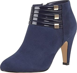 Lotus Nell Womens Heeled Ankle Boots 3 UK Navy Microfibre/Patent