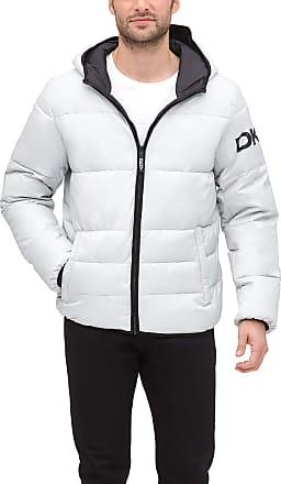 DKNY Mens Water Resistant Ultra Loft Hooded Logo Puffer Jacket Down Alternative Coat, Silver, Medium