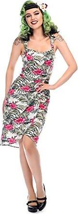 Collectif Damen Kleid Carmen Cactus Retro Kaktus Swing Dress